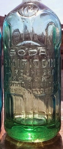 antiguo sifón diseño art deco cristal verde de colección