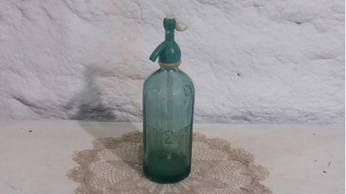 antiguo sifón vidrio color verde cubsa tal cual foto