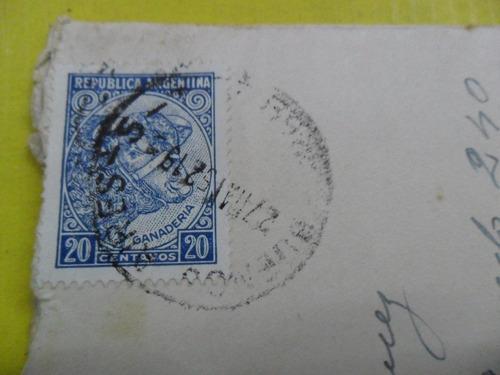 antiguo sobre estampilla sello 20 centavos ganaderia