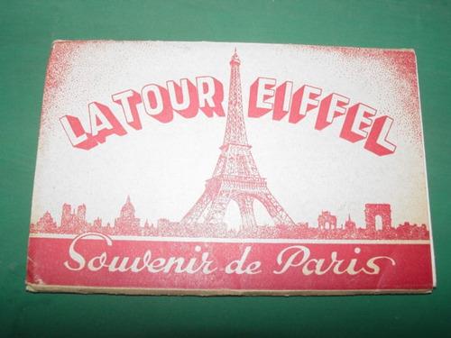 antiguo souvenir paris francia vistas torre eiffel carnet