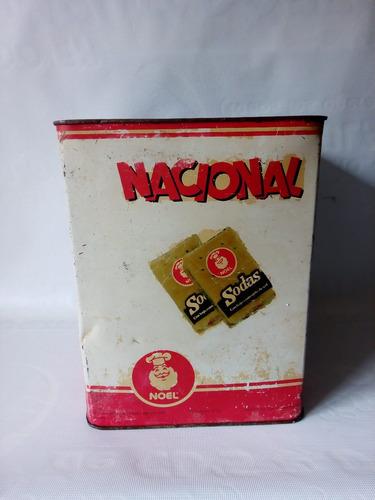 antiguo tarro hojalata galletas soda nacional noel coleccion
