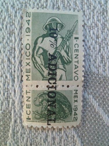 antiguo timbre postal méxico coleccionable 1942 estampilla