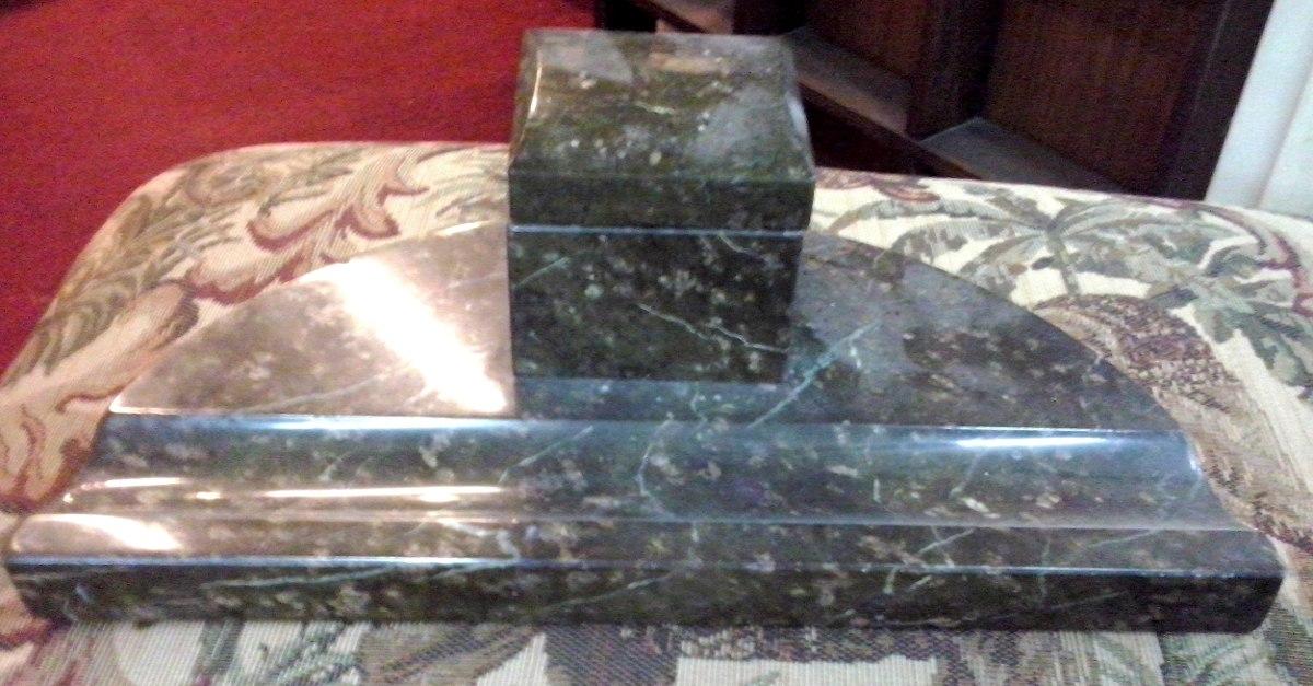 Antiguo tintero art deco marmol verde con deposito vidrio for Marmol verde claro