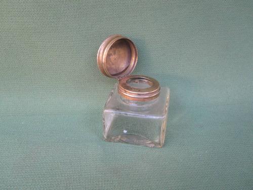 antiguo tintero cristal y bronce años 20