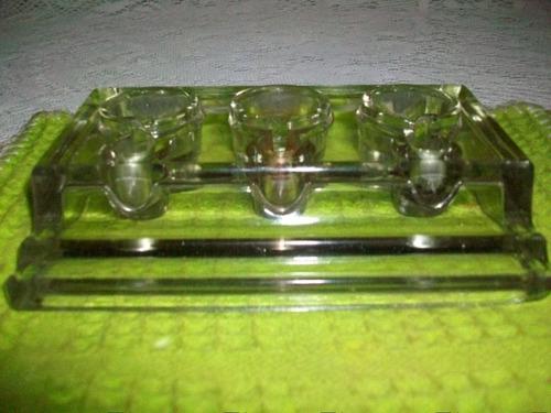 antiguo tintero de vidrio c/tres bases y comp.p/lapicera