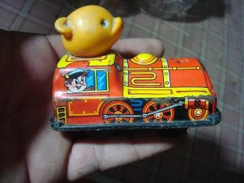 antiguo tren de chapa japones a cuerda juguete juego