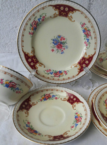 antiguo trio para te taza y plato postre colbridge england