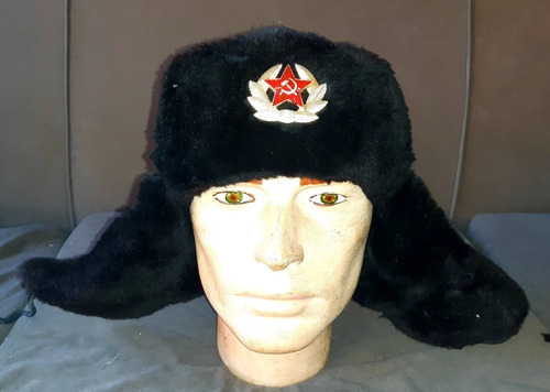 antiguo ushanka soviético de oficial, guerra fría 2!! (38v)