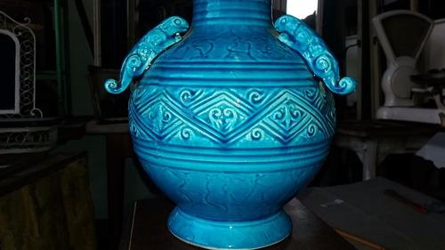 antiguo vintage florero de ceramica turquesa