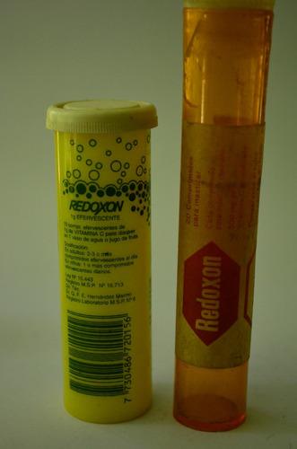antiguo vintage frascos - redoxon - lab. roche