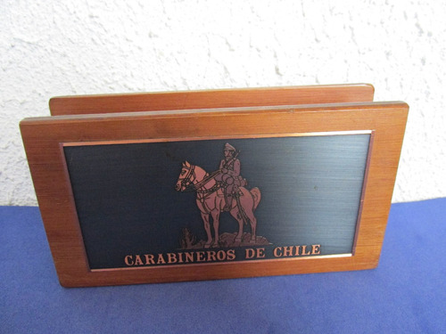 antiguo y exclusivo portacartas carabineros de chile unico