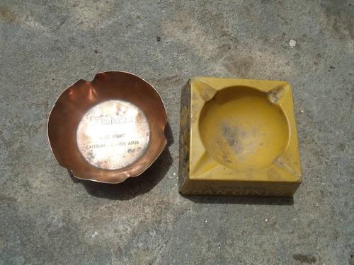 antiguos ceniceros de cobre y baquelita