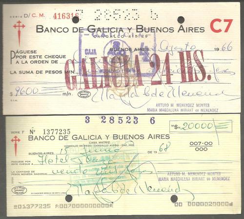 antiguos cheques del banco galicia x 2