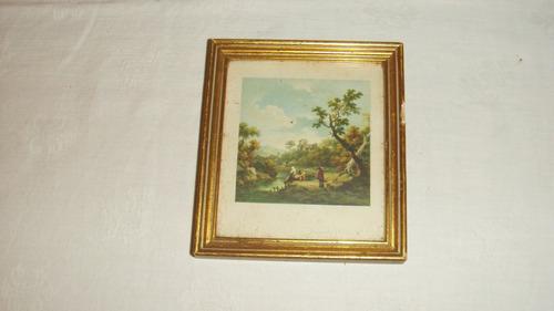 antiguos cuadros miniatura laminas paisaje