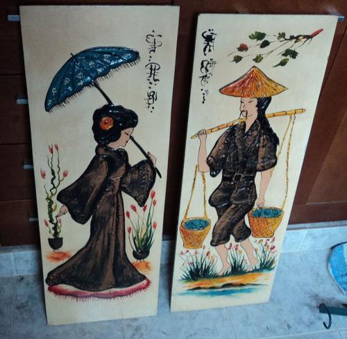 antiguos cuadros orientales chino cabecera retro