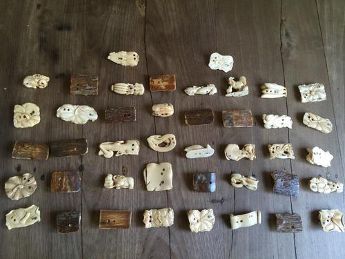 antiguos netsukes japón  firmados, tallados elefante.