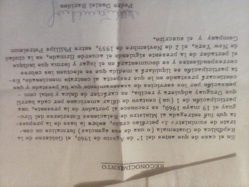 antiguos papeles pedro daniel baridon - 1959 - 1960