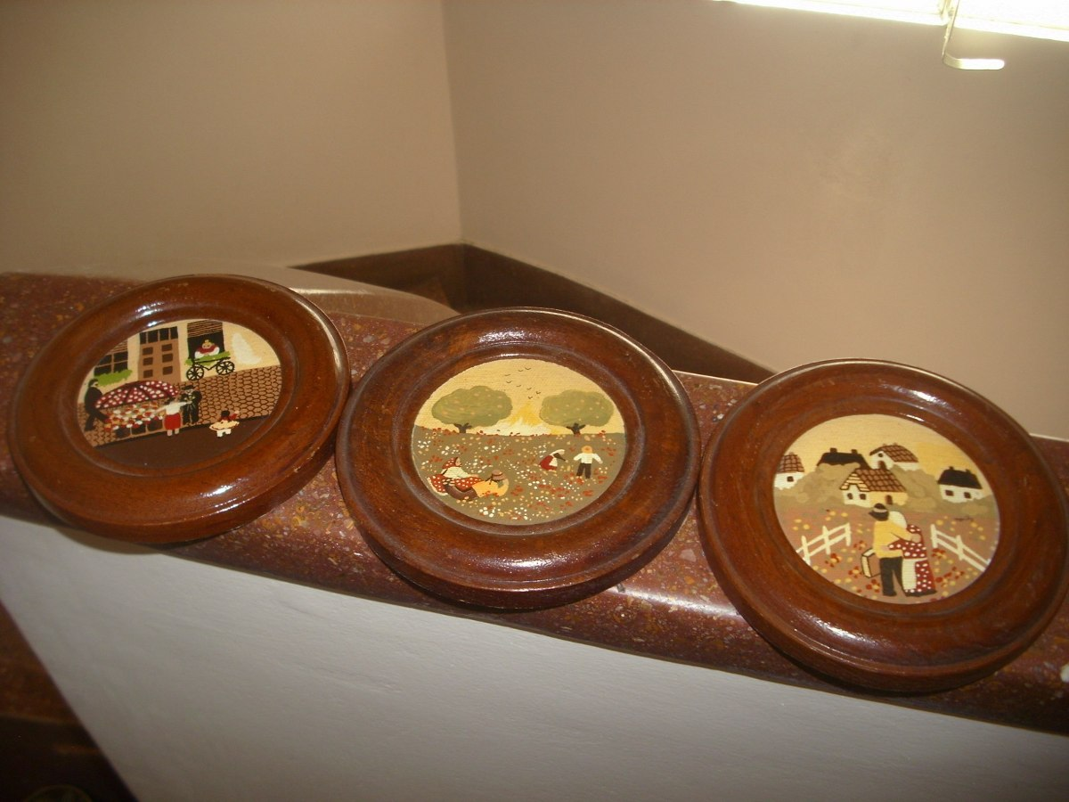 Antiguos Platos Decorativos Motivos Naif Marcos De Madera - $ 491,40 ...