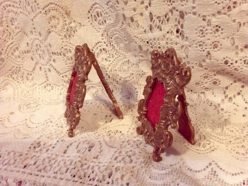 antiguos portarretratos en bronce masizo