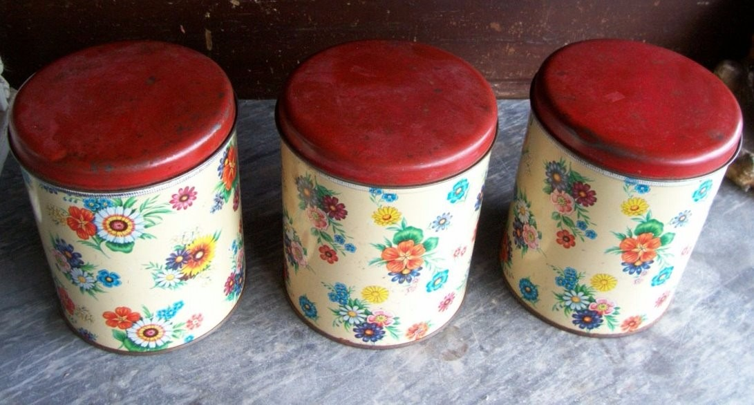Antiguos tarros de cocina litografiados x lote de 3 for Tarros de cocina baratos