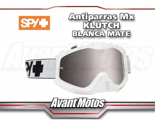 antiparra motocross spy klutch blanca mate avant motos