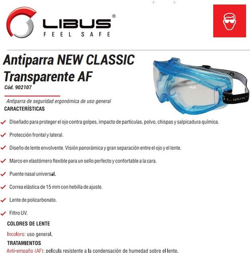 antiparra proteccion seguridad libus new classic anteojo