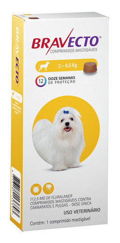antipulgas bravecto para cães de 2 a 4,5 kg