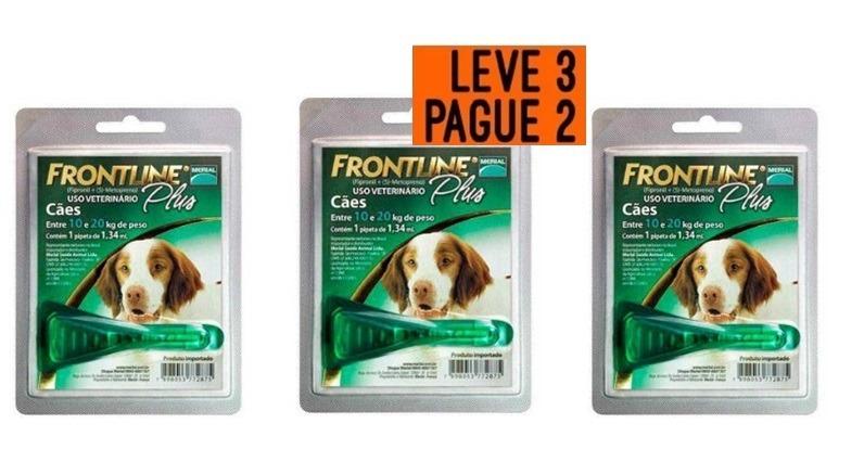 ef02b7c41c Antipulgas Frontline Plus Cães 10-20 Kg Leve 3 Pague 2 - R  139