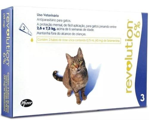 antipulgas revolution gato 45 mg 2,6 a 7,5 kg - 3 pipetas