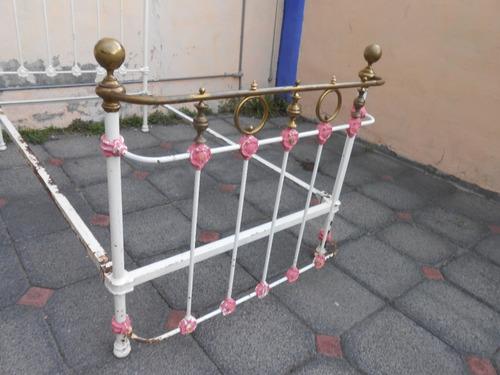 antiqua cama siglo xix hierro colado y laton individual impr