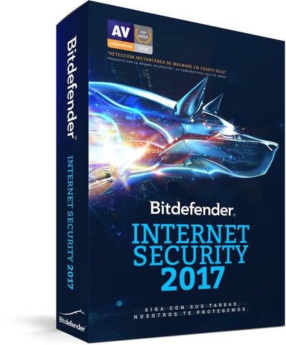 antivirus bitdefender internet security  2017, 2 licencias.