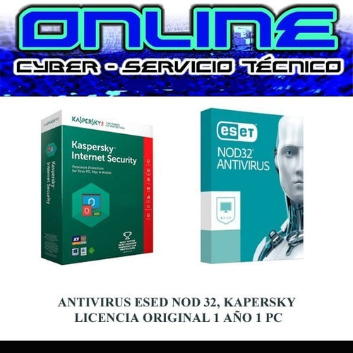 antivirus eset nod32, kaspersky internet for windows 1pc1año