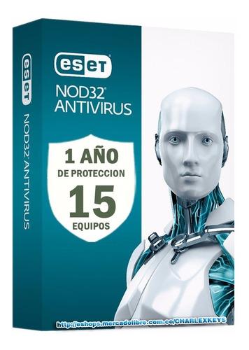 antivirus eset nod32 para 15 pc mas 1 servidor por 1 año