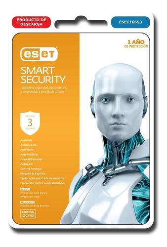 antivirus eset smart security licencia 3pc digital seguridad