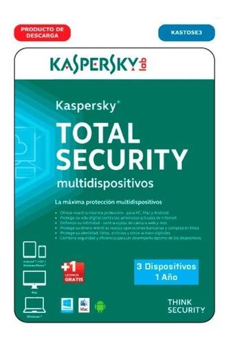 antivirus kaspersky total security  2019 3 pc 1 año