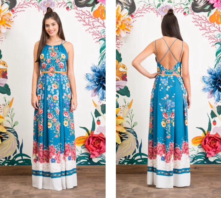 b98a8dff3 Antix - Vestido Longo Barrado Floral I Ref 80338 - R$ 380,00 em ...