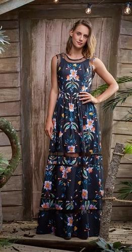 antix - vestido longo poá de gardênias com tags
