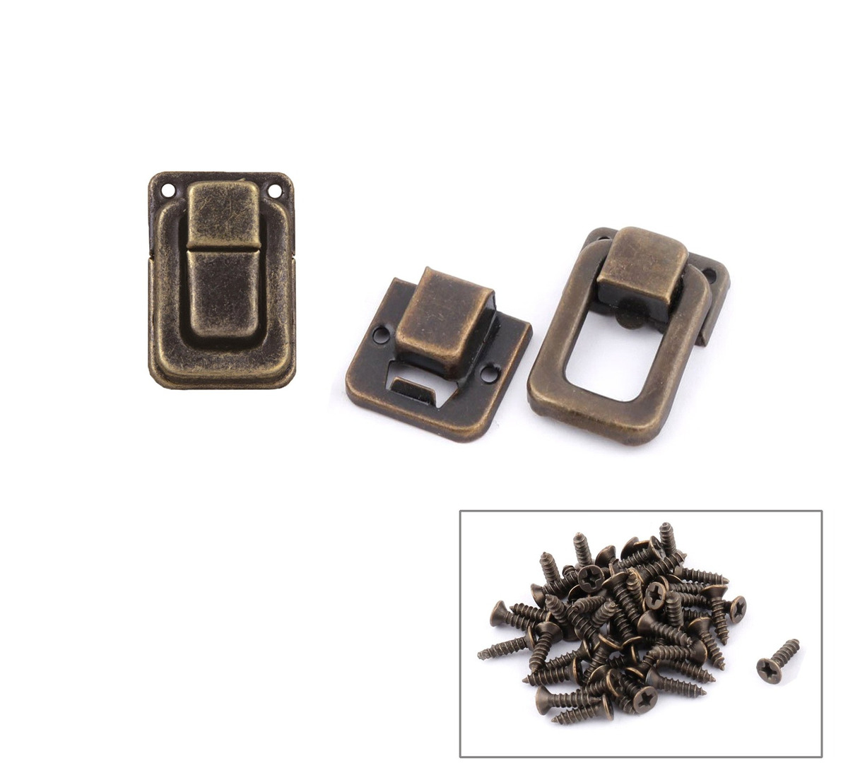 Bronze Tone Antrader 24pcs Clasp Latch Lock Mini Hasp for Toolbox Gift Box Suitcase 1.5 x 1 x 0.35 with Screws