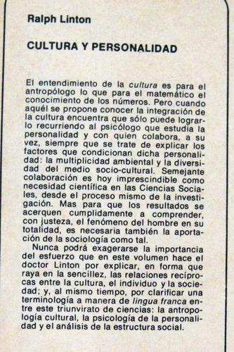 antropologia. ralph linton. cultura y personalidad. 1971