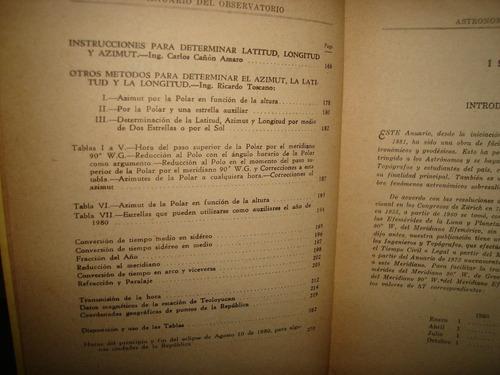 anuario del observatorio astronómico nacional p/ el año 1980