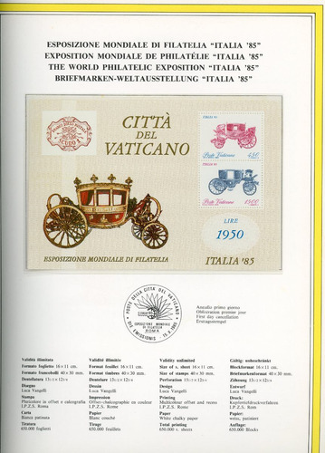 anuario filatélico del estado vaticano, año 1985, volumen 3