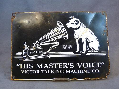 anuncio antiguo lámina porcelanizada fonógrafos rca victor