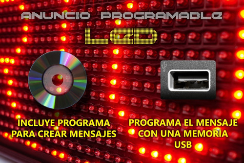 anuncio de 1536 leds programable con display 100x20 cms