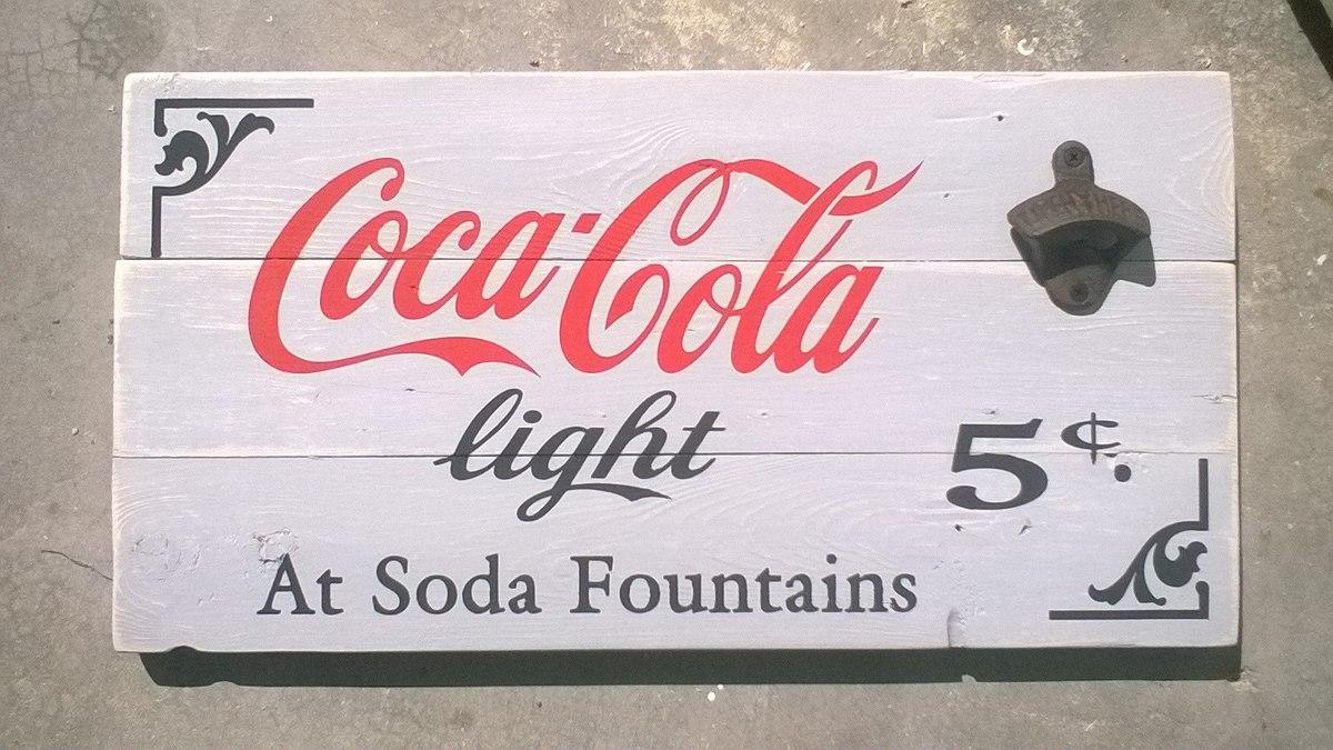 anuncio letrero coca cola light madera antiguo destapador - $ 550.00