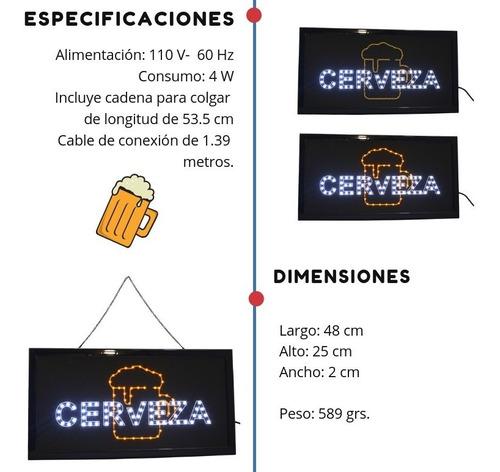 anuncio luminoso led frase cerveza bajo consumo parpadeante