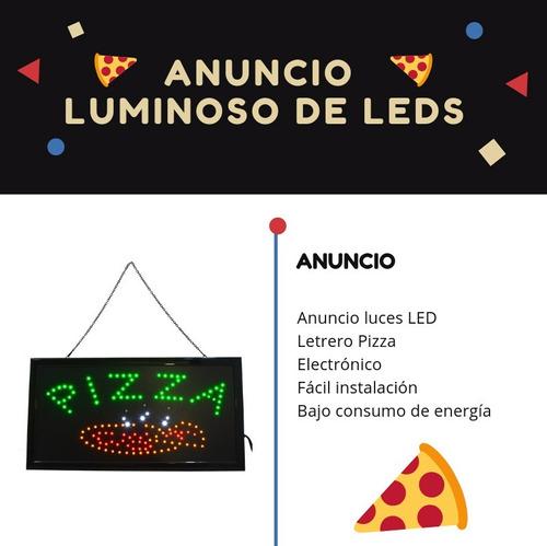 anuncio luminoso led frase pizza bajo consumo fotos reales