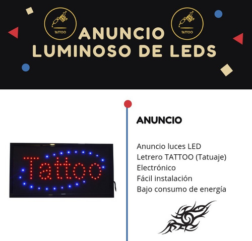 anuncio luminoso led frase tattoo bajo consumo tatuaje parpa