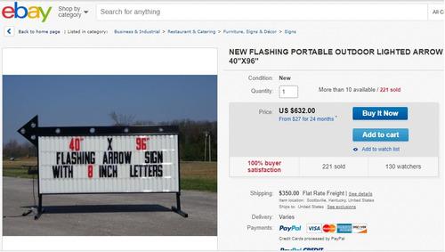 anuncios luminoso estilo  americano  40´´x 96´´ pulgadas