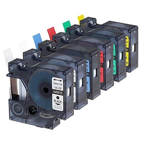 anycolor pack 6 1/2 pulgadas compatible dymo d1 etiqueta
