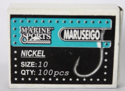 anzol maruseigo nickel nº 10. caixa c/ 100 unidades
